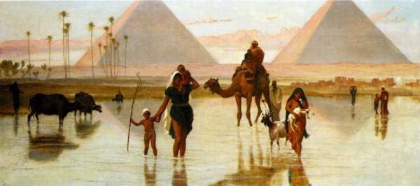 Arabs Crossing A Flooded Field By The Pyramids